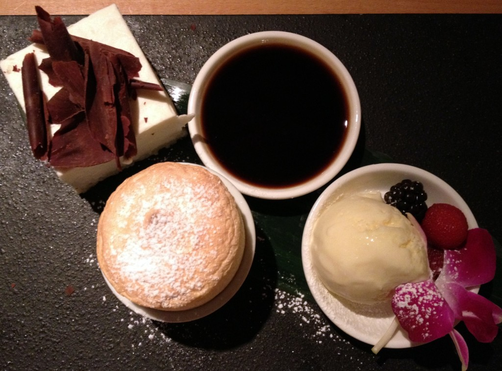 tofu soufle and cheese cake - mapple syrup icecream
