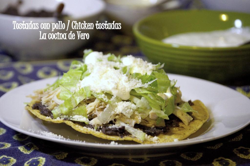 Tostadas con pollo - Chicken tostadas - La cocina de Vero