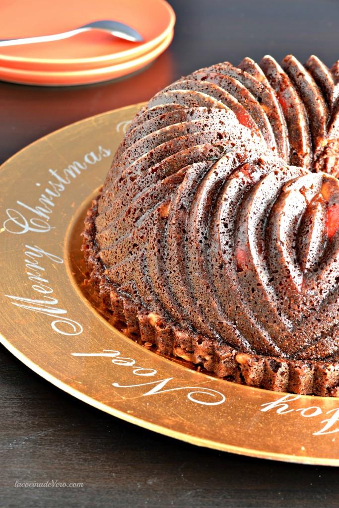 Bundt cake de chocolate para Navidad