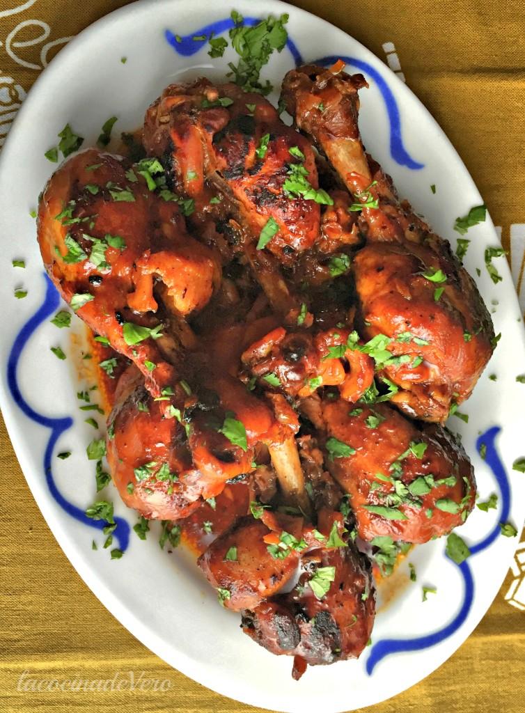 Pollo con sirope de arce y Sriracha