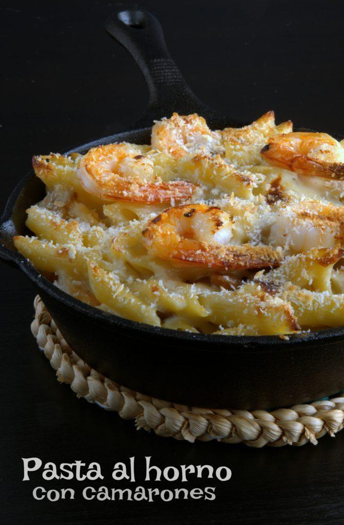 Pasta al horno con camarones