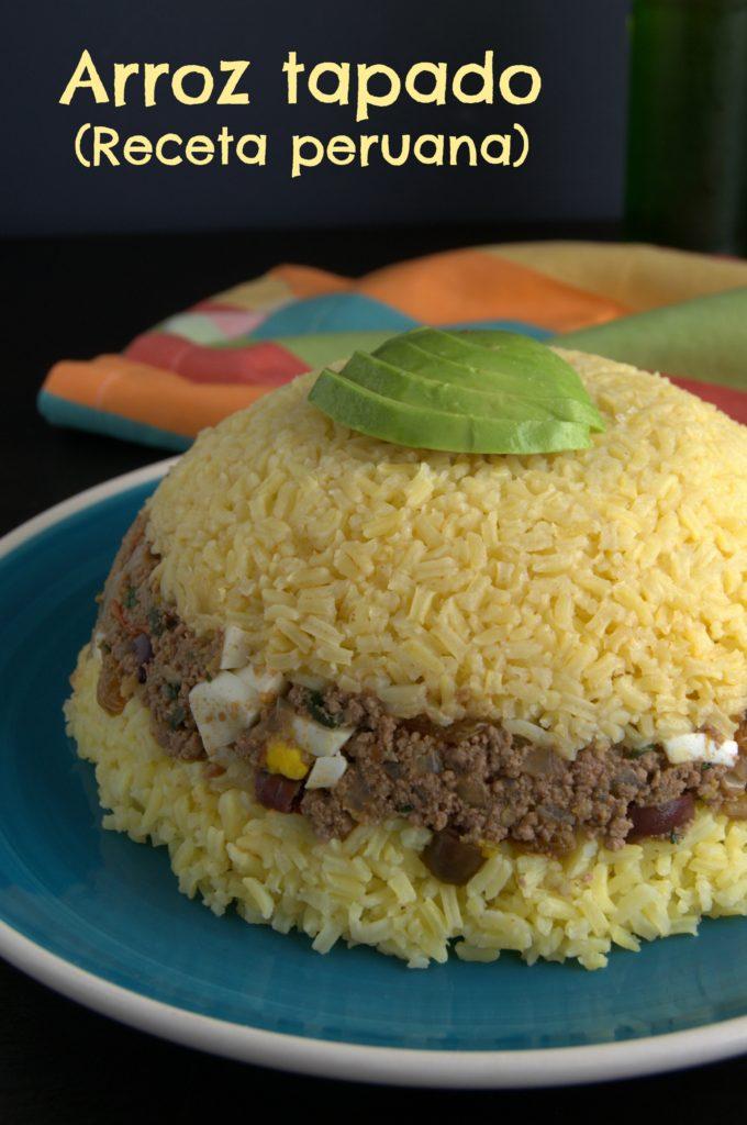 Arroz tapado de carne. Receta peruana